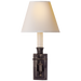 French Single Library Sconce - Bronze Finish with Natural Paper Shades