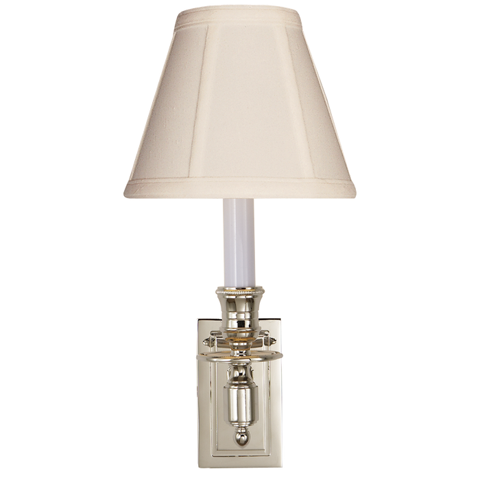 French Single Library Sconce - Polished Nickel Finish with Tissue Shades