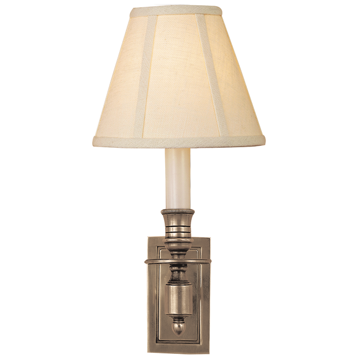French Single Library Sconce - Antique Nickel Finish with Linen Shades