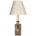 French Single Library Sconce - Antique Nickel Finish with Tissue Shades