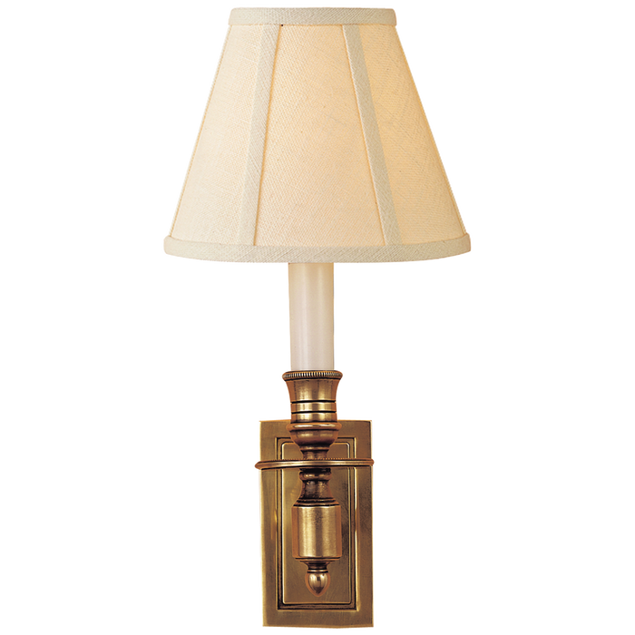 French Single Library Sconce - Hand-Rubbed Antique Brass Finish with Linen Shades