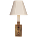 French Single Library Sconce - Hand-Rubbed Antique Brass Finish with Tissue Shades