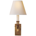 French Single Library Sconce - Hand-Rubbed Antique Brass Finish with Natural Paper Shades