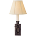 French Single Library Sconce - Bronze Finish with Linen Shades