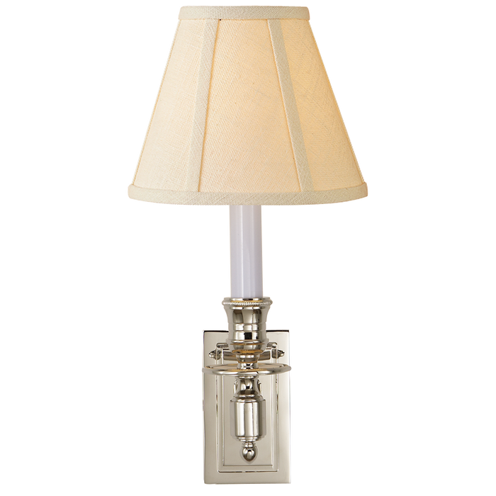 French Single Library Sconce - Polished Nickel Finish with Linen Shades
