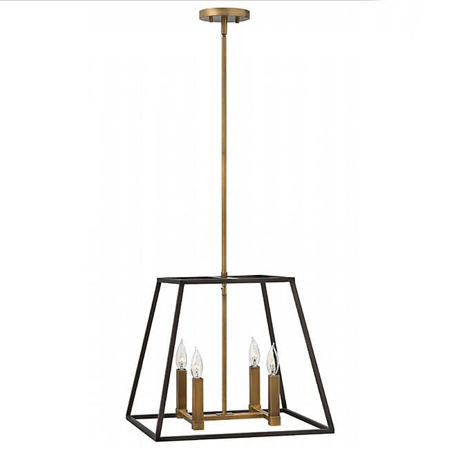 Fulton Small Foyer Chandelier - Bronze with Heirloom Brass Accents