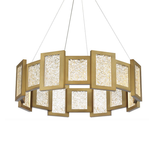 Fury LED Round Chandelier - Aged Brass Finish