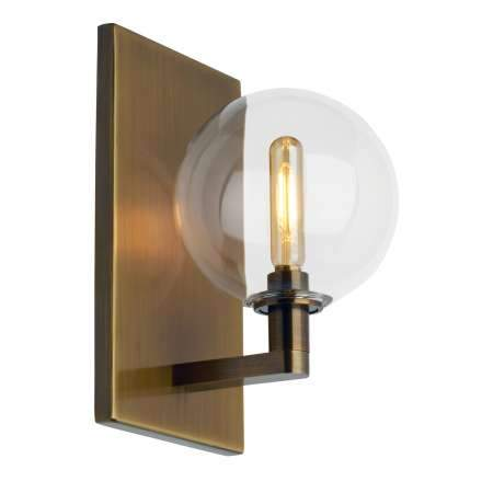 Gambit Single LED Wall Sconce Aged Brass