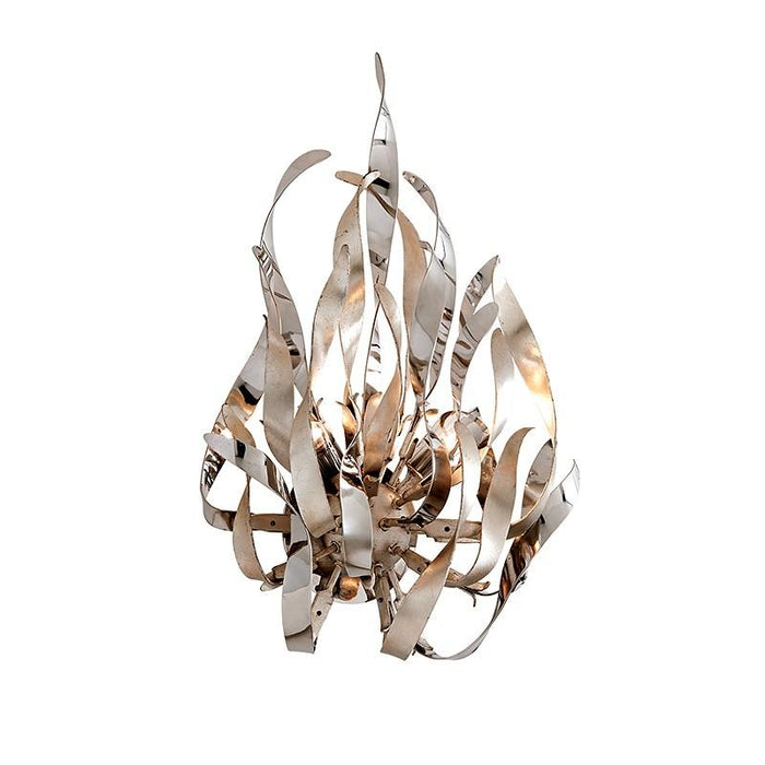 GRAFFITI LARGE WALL SCONCE - Silver Leaf Polished Stainless Finish