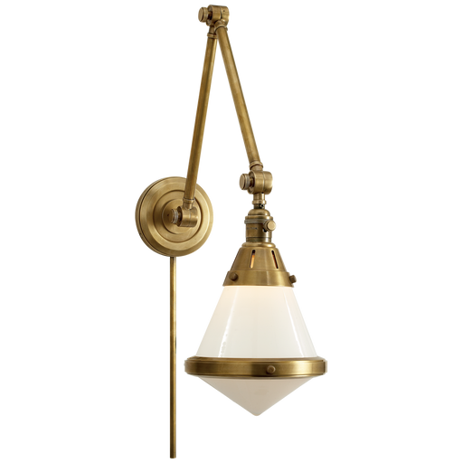 Gale Library Wall Light - White Glass/Hand-Rubbed Antique Brass Finish