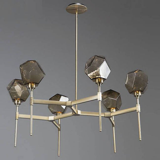 Gem Round LED Belvedere Chandelier - Bronze Glass/Heritage Brass