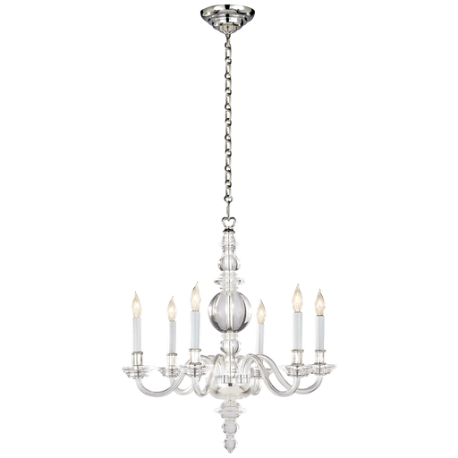 George II Small Chandelier Crystal Polished Nickel