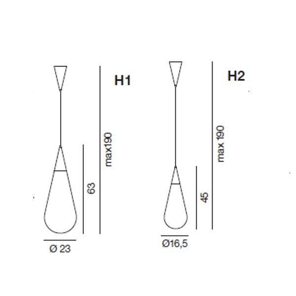 Goccia H1/H2 Suspension lamp