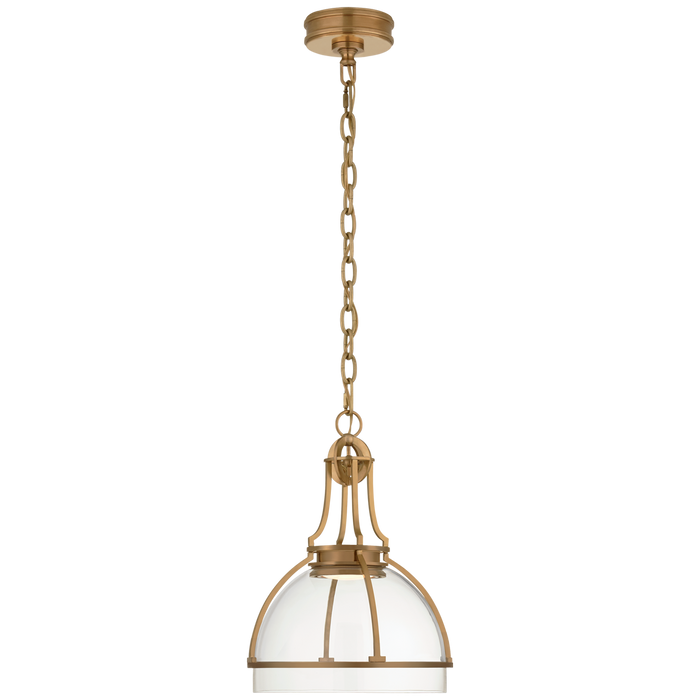 Gracie Medium Dome Pendant - Antique-Burnished Brass Finish with Clear Glass Shade