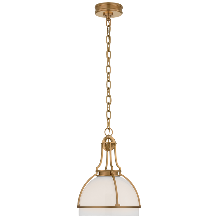 Gracie Medium Dome Pendant - Antique-Burnished Brass Finish with White Glass Shade
