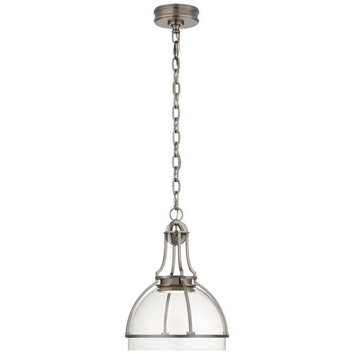 Gracie Medium Dome Pendant - Antique Nickel Finish with Clear Glass Shade