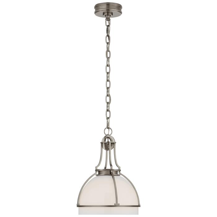 Gracie Medium Dome Pendant - Antique Nickel Finish with White Glass Shade