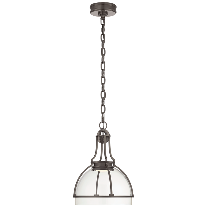 Gracie Medium Dome Pendant - Bronze Finish with Clear Glass Shade