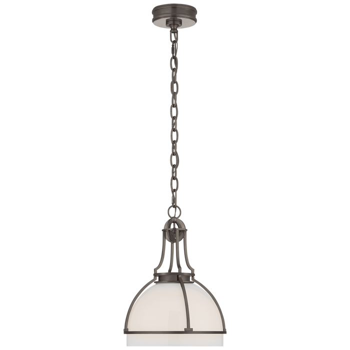 Gracie Medium Dome Pendant - Bronze Finish with White Glass Shade