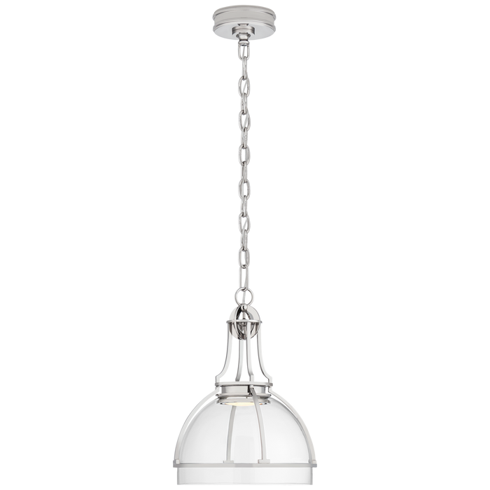 Gracie Medium Dome Pendant - Polished Nickel Finish with Clear Glass Shade