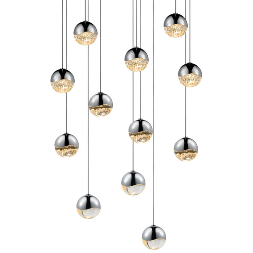 Grapes 12 Small Light LED Round Multipoint Pendant - Polished Chrome