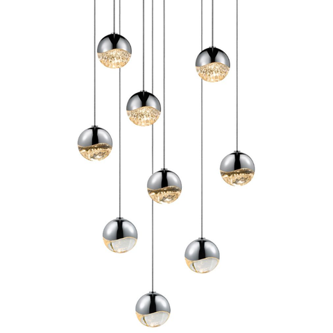 Grapes 9 Small Light LED Round Multipoint Pendant Polished Chrome