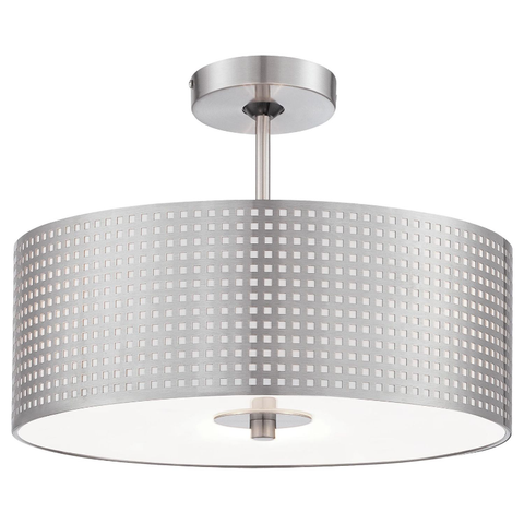 Grid Semi-Flush Mount - Brushed Nickel Finish