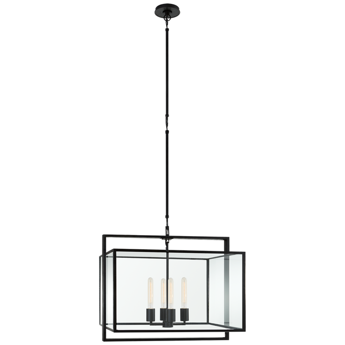 Halle Medium Wide Lantern - Aged Iron Finish
