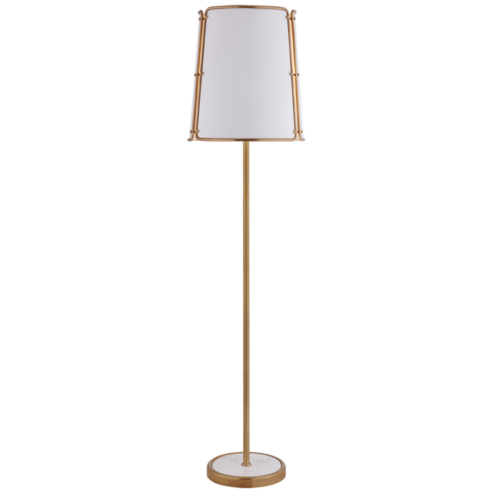 Hastings Large Floor Lamp - Hand-Rubbed Antique Brass Finish with White Shade