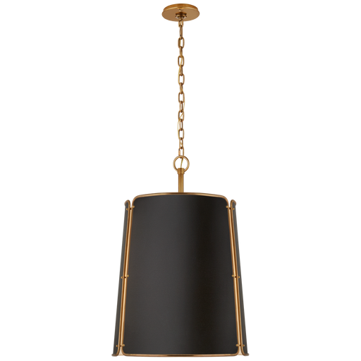 Hastings Large Pendant - Hand-Rubbed Antique Brass Finish with Black Shade