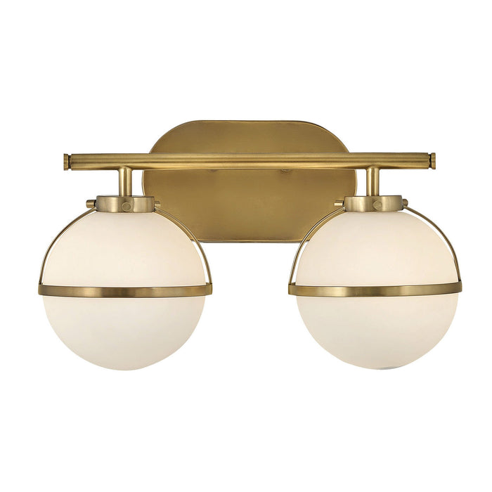Hollis 2-Light Bath Bar - Heritage Brass Finish