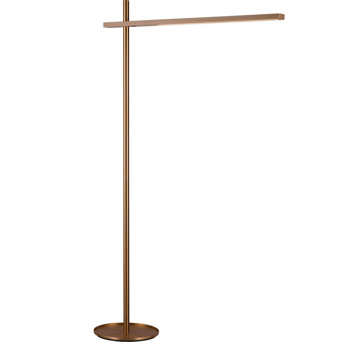 Holly Floor Lamp - Brushed Gold/Beech Wood