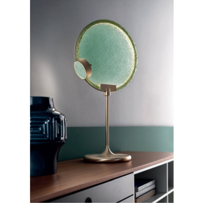 Horo Table Lamp - Brushed Brass Finish with Green Glass