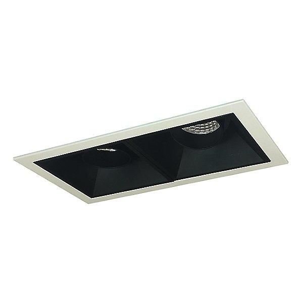 Iolite MLS LED Adjustable Snoot and Wall Wash Two Head Trim Set - Black Trim with Matte Powder White Flange