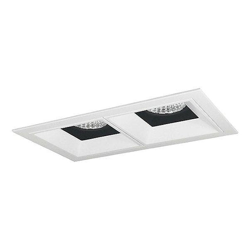 Iolite MLS LED Fixed Downlight Two Head Trim Set - Black/White Trim with Matte Powder White Flange