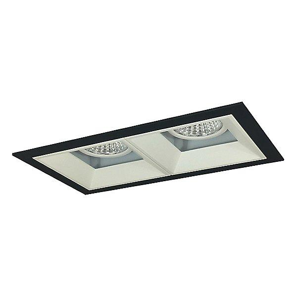 Iolite MLS LED Fixed Downlight Two Head Trim Set - Matte Powder White Trim with Black Flange