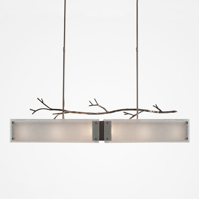 Ironwood Linear Suspension Light - Satin Nickel/Frosted Granite