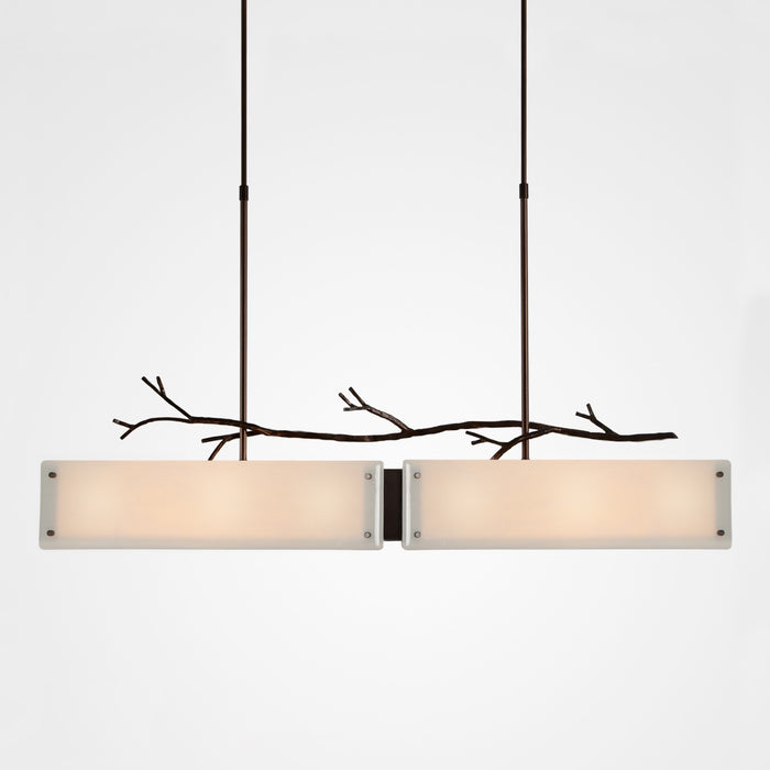 Ironwood Linear Suspension Light - Oiled Rubbed Bronze/Ivory Wisp
