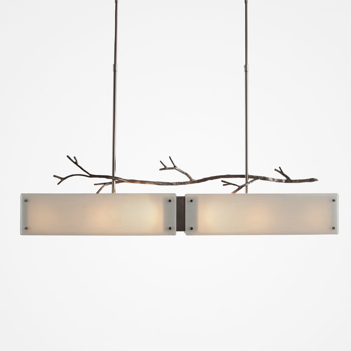 Ironwood Linear Suspension Light - Satin Nickel/Ivory Wisp