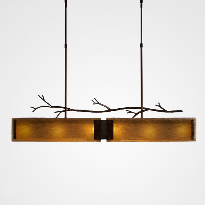 Ironwood Linear Suspension Light - Oiled Rubbed Bronze/Bronze Granite