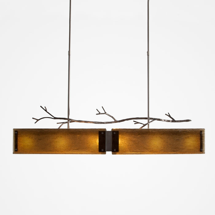 Ironwood Linear Suspension Light - Satin Nickel/Bronze Granite