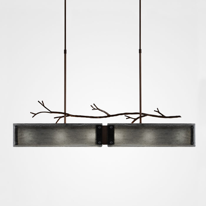 Ironwood Linear Suspension Light - Oiled Rubbed Bronze/Smoke Granite