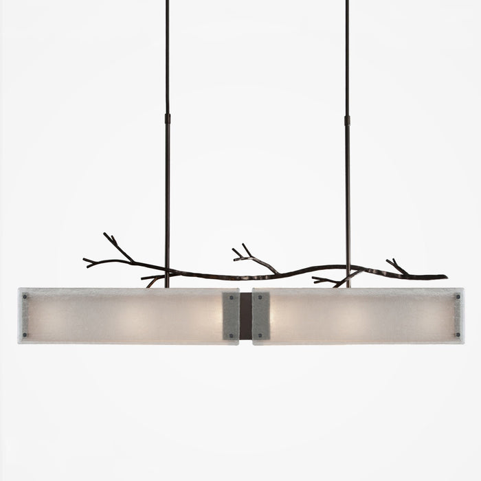 Ironwood Linear Suspension Light - Gunmetal/Frosted Granite
