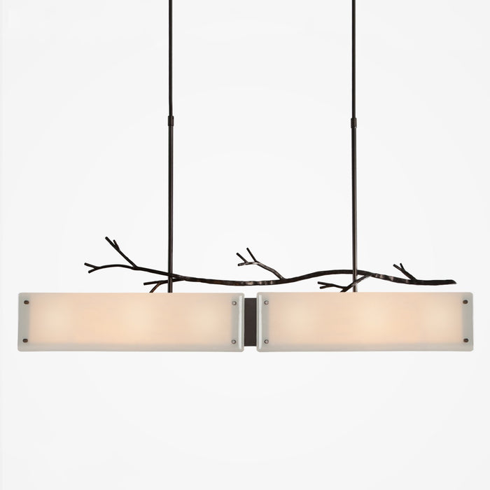 Ironwood Linear Suspension Light - Gunmetal/Ivory Wisp