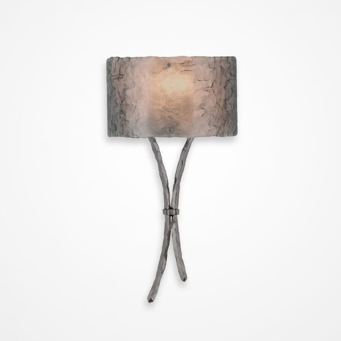 Ironwood Sprout Glass Wall Sconce - Satin Nickel/Smoke Granite