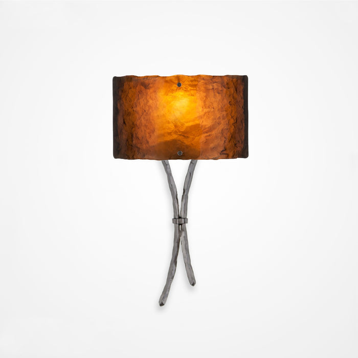 Ironwood Sprout Glass Wall Sconce - Satin Nickel/Bronze Granite