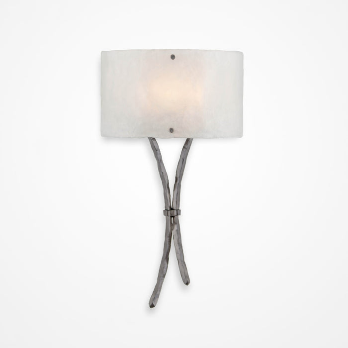 Ironwood Sprout Glass Wall Sconce - Satin Nickel/Frosted Granite