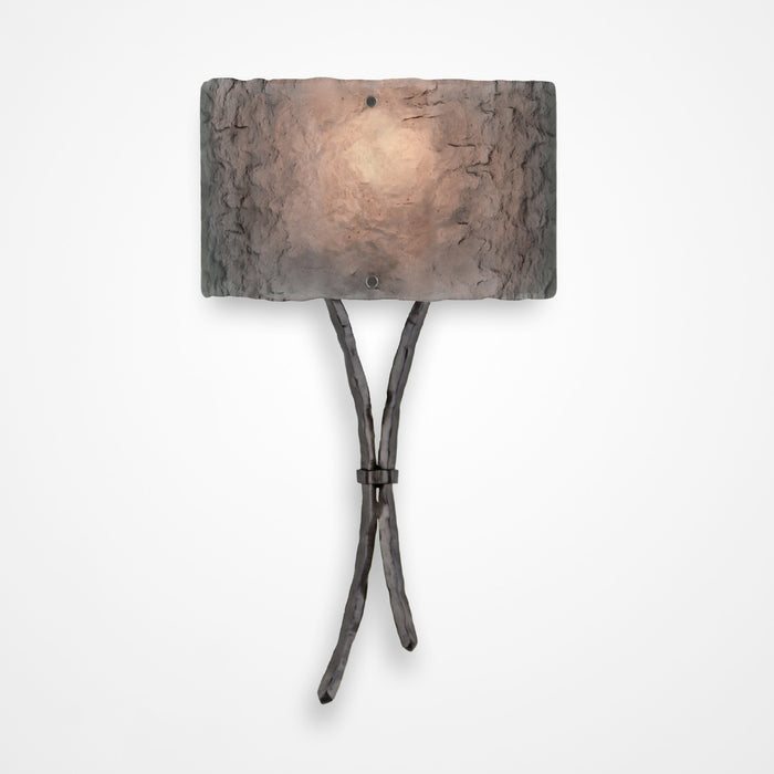 Ironwood Sprout Glass Wall Sconce - Gunmetal/Smoke Granite