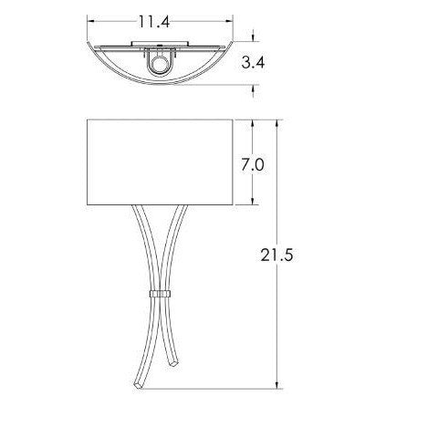Ironwood Sprout Glass Wall Sconce - Diagram