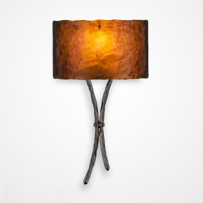 Ironwood Sprout Glass Wall Sconce - Gunmetal/Bronze Granite